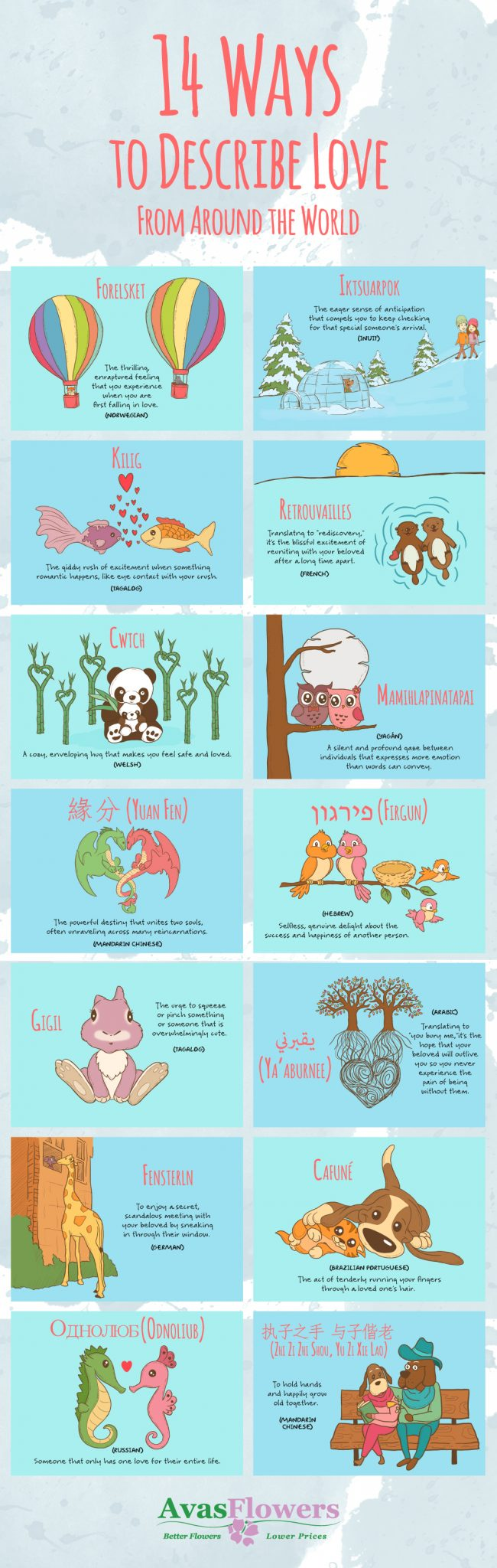 14 ways to describe love from around the world infographic - iGaming Translation Royale