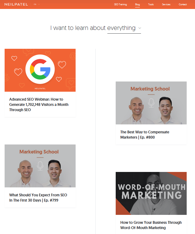 Neil Patel Blog - Top 11 content marketing blogs - Translation Royale