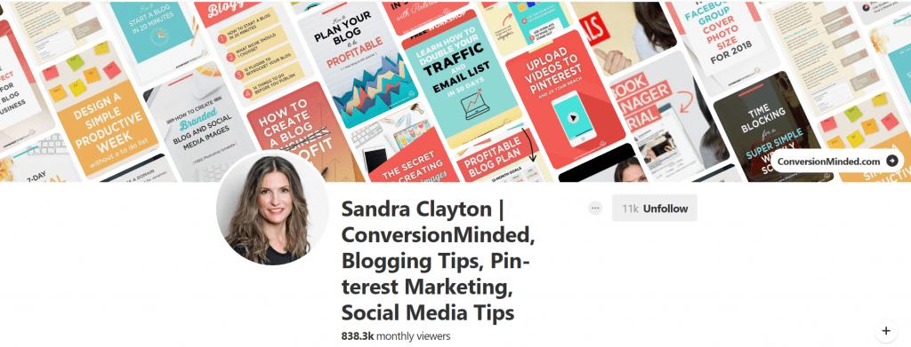 Sandra Jay Clayton Pinterest- Top Content Marketing Pinterest Accounts - Translation Royale