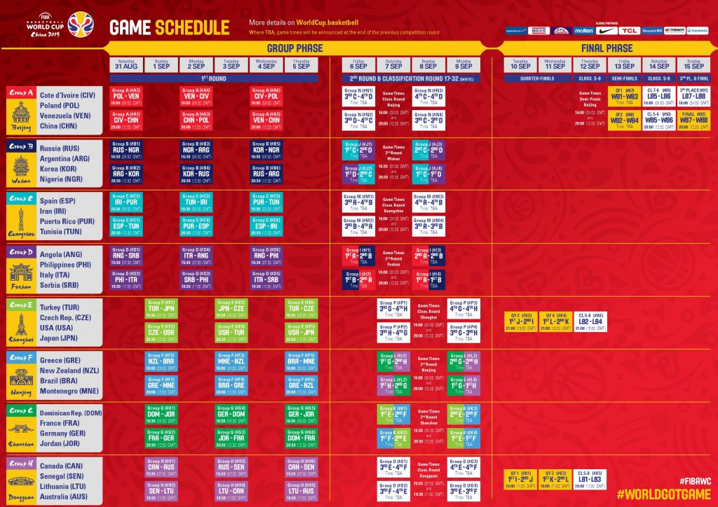 FIBA Basketball World Cup 2019 Game Schedule - Important Events for Sportsbooks in August and September 2019 - Translation Royale