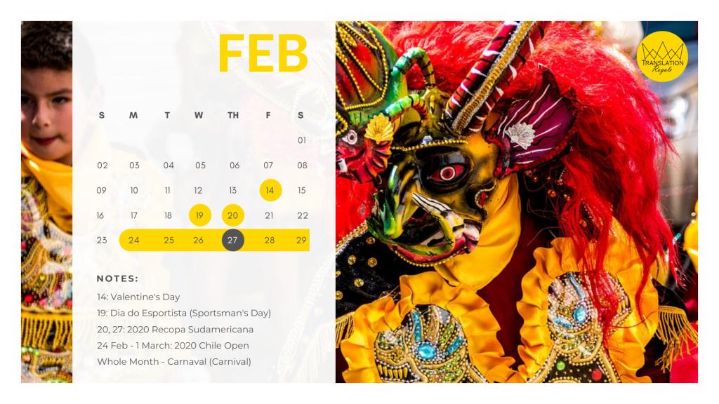 February - Marketing Calendar for the Latin American iGaming Market - Translation Royale