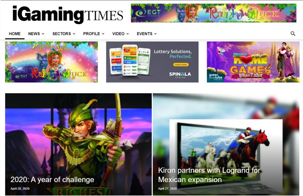 iGaming Times Home Page - Identifying Content Marketing Trends for iGaming Operators - Translation Royale