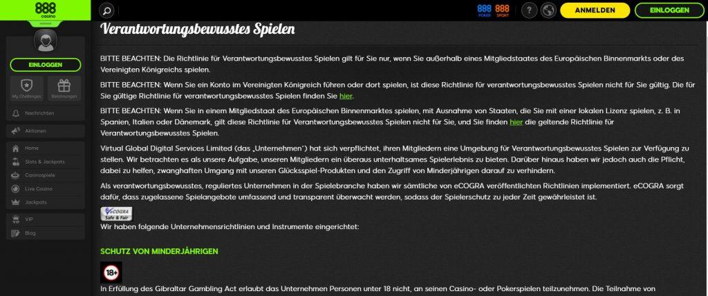888 Casino Responsible Gambling in Deutsch