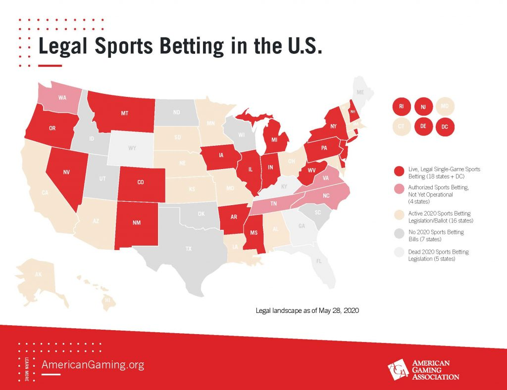 AGA-Legal- Sports-Betting-Map-2020 - What You Need to Know If You're Entering the US Online Gambling Industry