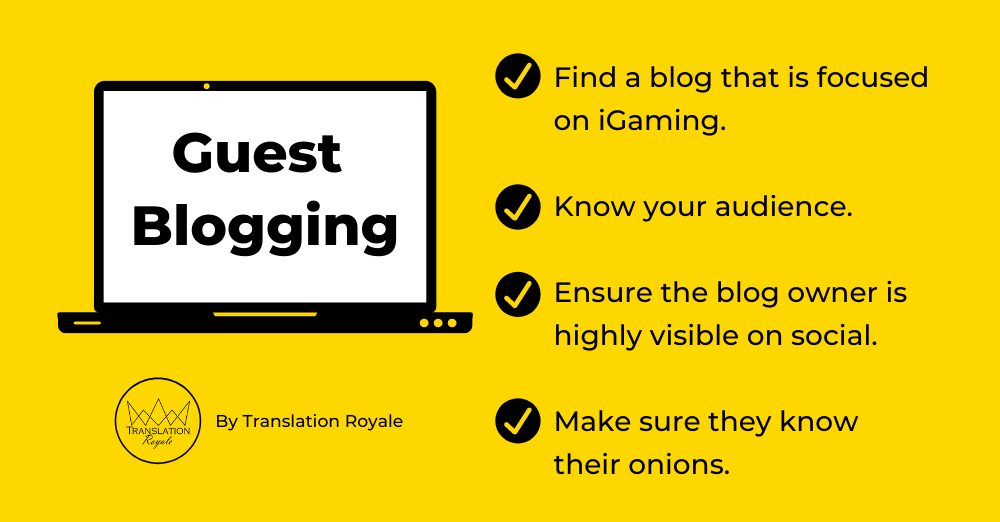 Tips on Guest Blogging - Off-Page SEO for iGaming Marketers in 2020 - Translation Royale