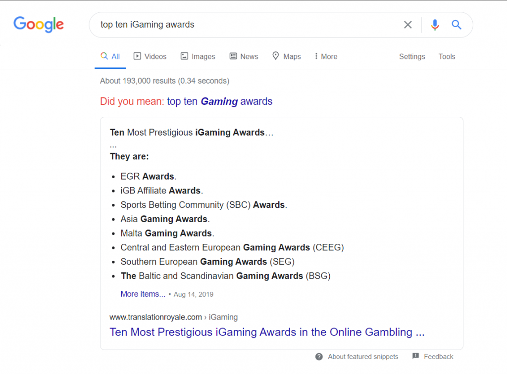 A Featured Snippet Example - Rich Snippets - Find Wealth in Your iGaming SEO Strategy - Translation Royale