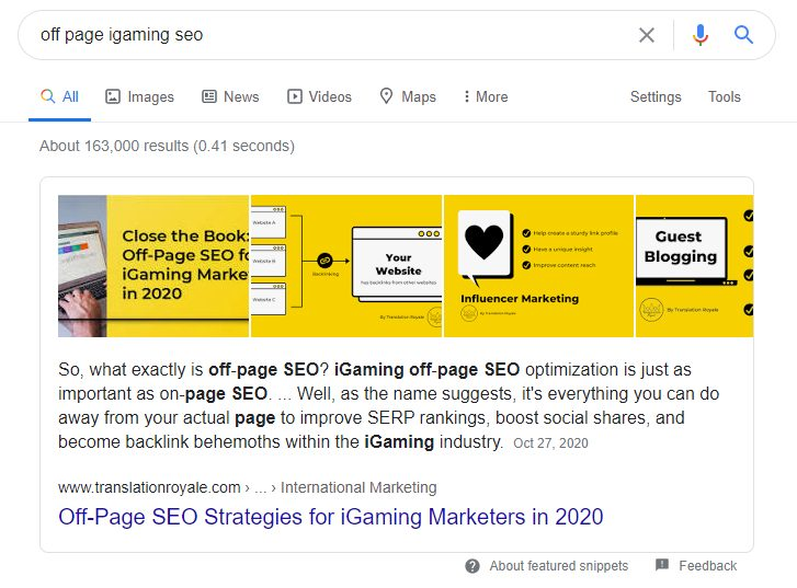Featured Snippet Example - Featured Snippets for iGaming - Translation Royale