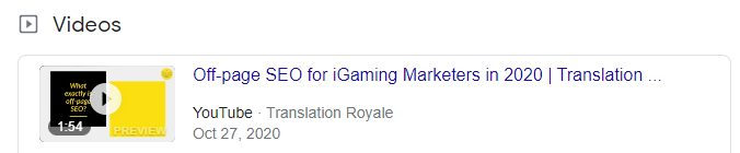Video Rich Snippet Example - Featured Snippets for iGaming - Translation Royale