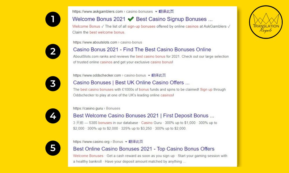 Top 5 results for the search term best casino welcome bonus - Translation Royale